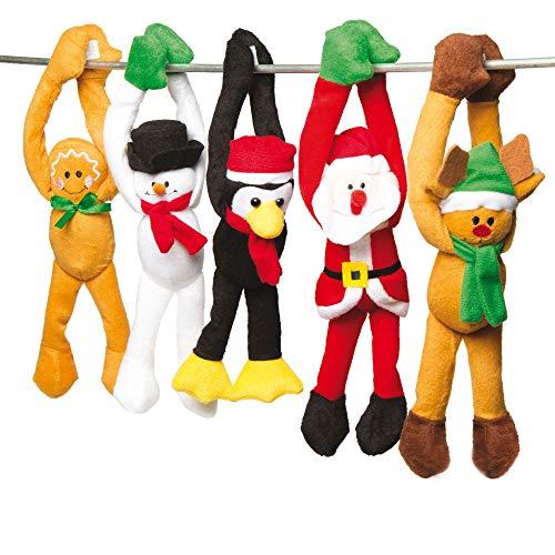 Baker Ross - Muñecos de peluche navideños para colgar - Un juguete suave, perfecto para calcetines y bolsas sorpresa invernales (pack de 5)
