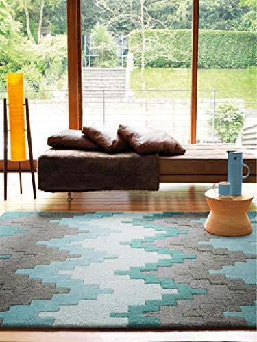 Benuta Wollteppich Matrix Cuzzo Türkis 80x150 cm/Naturfaserteppich für Wohnzimmer und Schlafzimmer