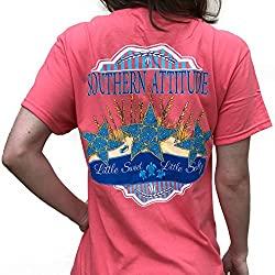 Southern Attitude Sea Star Coral Preppy Short Sleeve Shirt