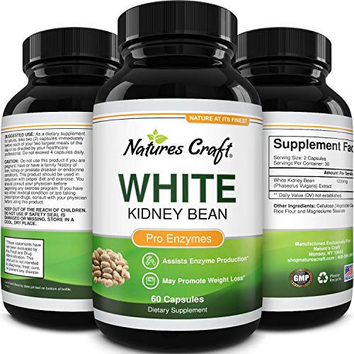 White Kidney Bean Energy Booster - White Kidney Bean Extract Pill and Natural Vegetarian Supplements - Natural Energy Pills for Fatigue and White Bean Extract Supplements