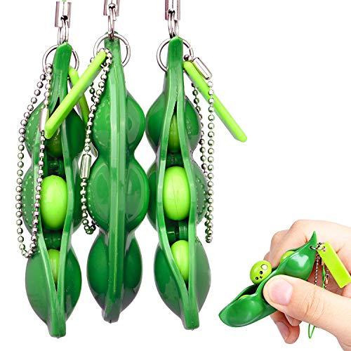 Drücken eine Bohne,3er Pack Böhnchen Anhänger Sojabohne Schlüsselanhänger Kinder und Adluts Zappeln Spielzeug für Schlüssel Anti-Stress Entlastende