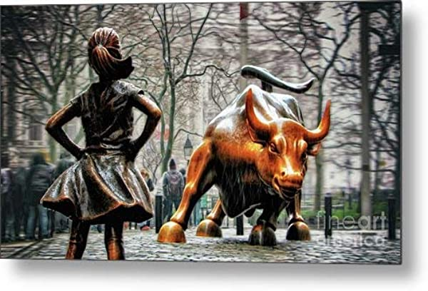 KPSheng Fearless Girl And Wall Street Bull Statues Metal Sign 8x12