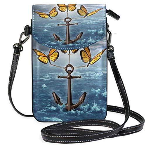 Heben der Bürde Anker Schmetterling Kleine Umhängetasche Handy Geldbörse Brieftasche Leichte, geräumige Taschen Smartphone-Tasche für Frauen Mädchen Teenager