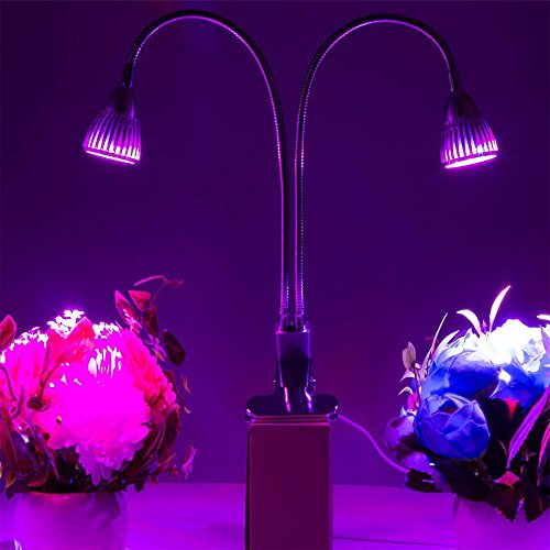 Dual Head UV & IR Plant Led Grow Light with Double Switch and 360 Degree Flexible Gooseneck for Indoor Plants Seedling Growing Blooming Fruiting in Greenhouse Office and Home (20w)