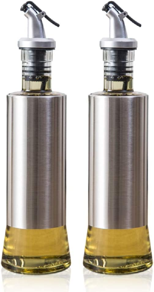 Olive Oil 4 years warranty Bottle Year-end gift Vinegar and 300ml Silver Sauce Dispenser 2pcs