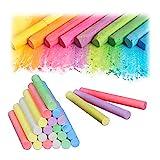 Relaxdays Juego de 24 Tizas de Colores para Pizarra y Calle, 6 Colores, Redondas, Ø 9 mm, Multicolor