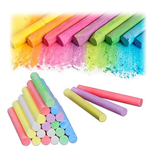 Relaxdays Gessetti Colorati in set da 24, da Lavagna e da Strada, 6 Colori, per Bambini e Insegnanti, Rotondi, Ø 12 mm