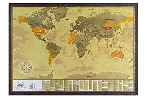 Weltkarte zum Kratzen auf Rahmen, detaillierte Karte mit Flaggen, Brown Frame