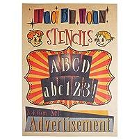 ステンシルシート アルファベット大文字・小文字&数字セット Advertisement (2,4,6cm)