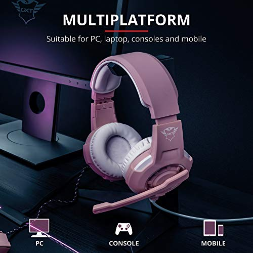Trust Gaming 23093 GXT 101P GAV Gaming-Maus Rosa + GXT 310P Radius Gaming Headset (mit verstellbarem Mikrofon, für PS4, Xbox One und PC) rosa
