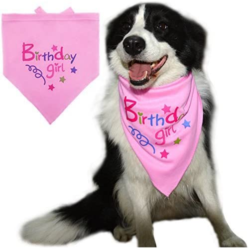 BINGPET Dog Birthday Bandana Pet Scarf For Small Medium Large Dogs Accessories Dress Pink