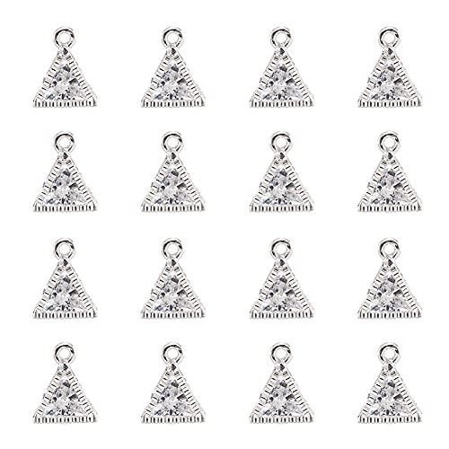 Cheriswelry 100 colgantes de cristal transparente con marco de metal, pequeños colgantes para joyas, collares, pendientes