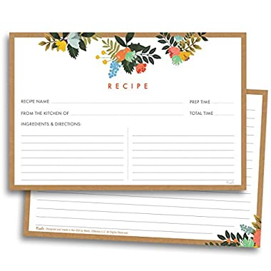 Floral Recipe Cards - 50 Double Sided Cards, 4x6 inches. Thick Card Stock