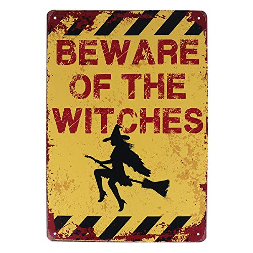 Halloween Tool-1pc Metal Sign Beware of The Witches Funny Vintage Warning Sign Halloween Decor