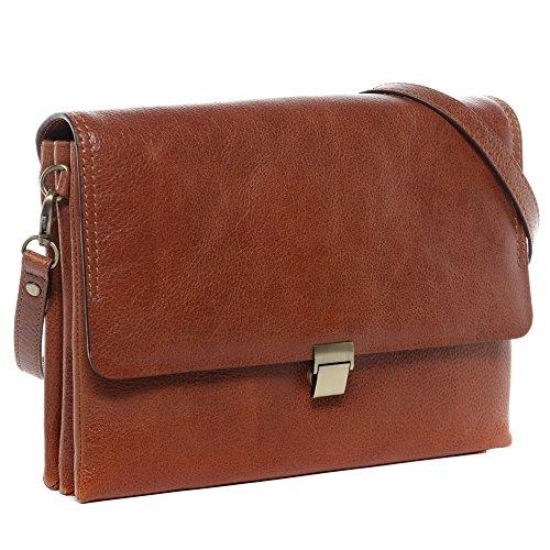 BACCINI® borsa a spalla vera pelle LIA sacchetto Borsa da donna donna cuoio marrone
