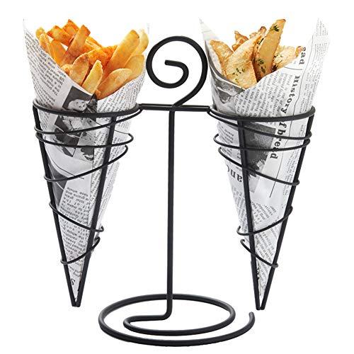 Französisch Fries Ständer Kegel Korb, Snack Fried Halter, Huhn Display Rack Lebensmittel Shelve Für Partybedarf Küchen Potato Chips Fry,Schwarz