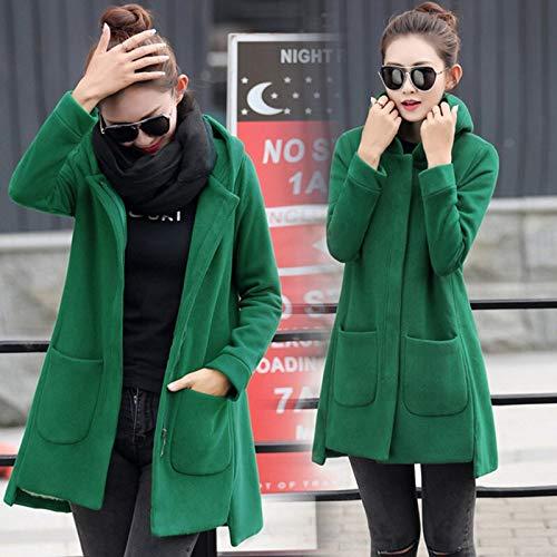 ZLLMY Herbst-Winter-Damen-Fleece-Jacke Mäntel weibliche Lange mit Kapuze Mantel Oberbekleidung Warm Thick Female Red Slim Fit Pullover Jacken (Color : Green, Size : XXXL)