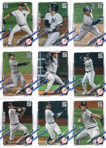 2021 Topps Series 1 New York Yankees Team Set of 14 Cards: Miguel Andujar(#30), New York Yankees(#39), Deivi Garcia(#41), Brett Gardner(#81), Albert Abreu(#88), Gerrit Cole(#95), Aaron Judge(#99), DJ LeMahieu(#108), Gio Urshela(#117), Aroldis Chapman(#157), Luke Voit(#186), Gleyber Torres(#242), Luke Voit(#252), Zack Britton(#254)