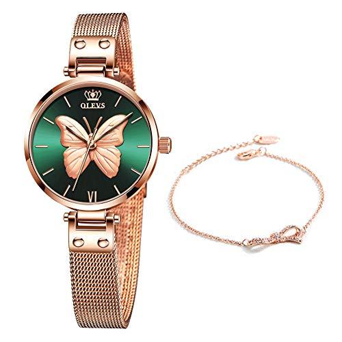 OLEVS Reloj de Mujer Acero Inoxidable Impermeable Analogico Cuarzo Reloj Regalo Cumpleaños Mujer