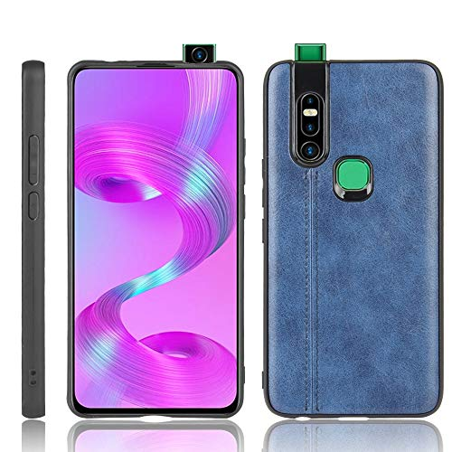 A+Xu Jie For Infinix S5 Pro Shockproof Sewing Cow Pattern Skin Texture PC + PU + TPU Case (Color : Blue)