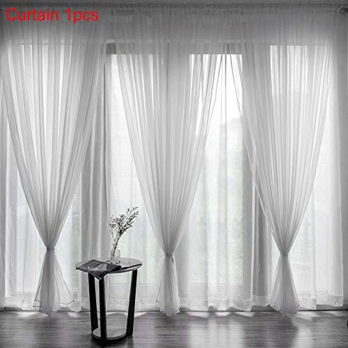 VSTAR66 3 cortinas de tul blanco, cortina de sombreado clásico con bolsillo para barra para ventana, balcón, decoración de habitación, 1 x 2 metros