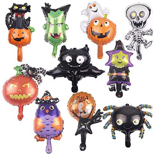 Bkrdty Globos de Halloween 10 Piezas Aluminio Conjunto Globos 16 Pulgada Calabaza Spider Ghost Balloon para Halloween Bar Suministros de decoración del Hogar