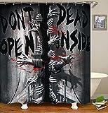 None brand Halloween Horror Duschvorhänge für Badezimmer mit Haken Polyester The Walking Dead with Hooks-B180xH200cm