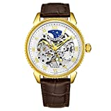 Stuhrling Original Mens Automatic Watch - Skeleton Watches for Men Self Winding Dress Watch with Premium Brown Leather Band Mechanical Watch for Men