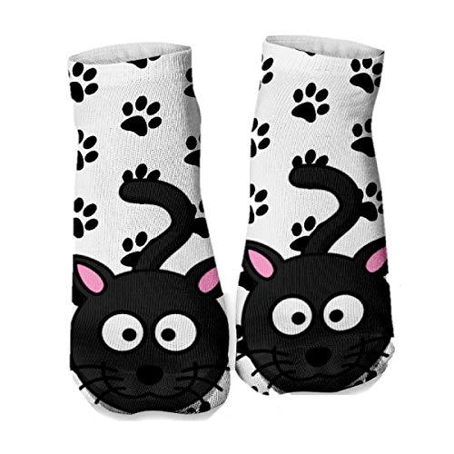 Ferocity Lustige Socken Sneaker Halbsocken Strümpfe Sportsocken Füßlinge mit Motiv 3D, Black Kitten, 36 - 40
