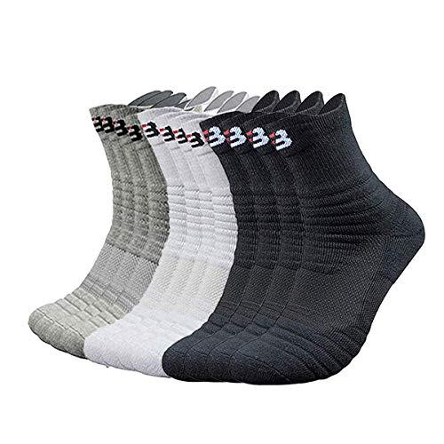 Litthing Socken Männer Europa und Amerika Männer Sport Verdickung-Socken aus Baumwolle Anti-Rutsch-Socken für Basketball, Laufen, Federball usw. (Lang 2 Schwarz 2 Weiß 2 Grau)
