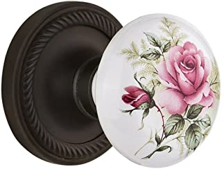 "Nostalgic Warehouse Rope Rosette with White Rose Porcelain Knob, Passage - 2.75"", Oil-Rubbed Bronze"