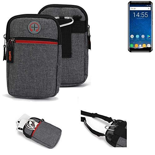 K-S-Trade® Gürtel-Tasche Für Oukitel K5000 Handy-Tasche Holster Schutz-hülle Grau Zusatzfächer 1x