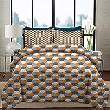 Juego de funda nórdica para ropa de cama Juego de colcha abstracta Juego de edredón Funda nórdica Azulejo de mosaico inspirado en origami de estilo moderno con formas hexagonales Juego de cama decorat