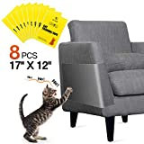 One Sight 8pcs Cat Scratch Furniture Protector Large (12' x 17') Cat Couch Protector, Clear Double Sided Training Tape Anti Scratch Cat Deterrent Sheet, Cat Sticky Paws Tape for Sofa,Wall,Mattress