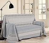 HomeLife - Tela decorativa para sofá, diseño de estampado con efecto de malla, 250 x 290 cm, fabricada en Italia, multiusos, de algodón, granfoulard