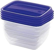 طقم علب حفظ طعام بلاستيك فيدو من كايس، 0.75 لتر - ازرق وشفاف - 4 قطع