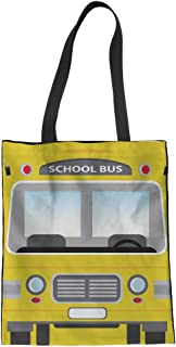 STARTERY Cotton Blend Canvas Tote Shoulder Bag Recycle Womens Handbags with Yellow Buses