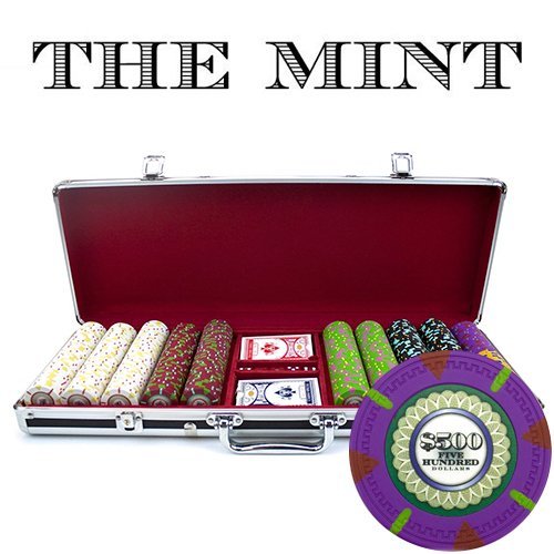 Claysmith Gaming 500-Count 'The Mint' Poker Chip Set in Aluminum Case, 13.5gm, Black