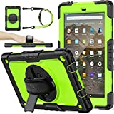 SEYMAC stock Case for Fire HD 10 (9th/7th Generation 2019/2017) ( NOT fit 10th 2021), Drop-Proof Case with [360 Stand & Hand Strap] [Pen Holder][Screen Protector] for Fire HD 10 9th/7th (Green+Black)