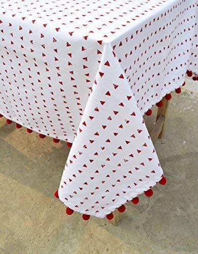 VLiving Nappe de Noël, Triangle d'impression, Rouge et blanc, 100% coton, Cabana, Pompon, dentelle Tailles disponibles, Coton, Red, 54x90
