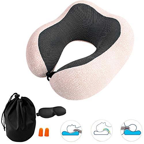 YAOJP Reisekissen - Nacken- und Kopfstützkissen mit Augenmasken-Ohrstöpseln und Aufbewahrungsbeutel,Beige