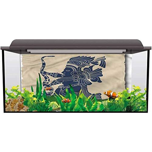 ScottDecor Aquarium 3D Backdrops Tribal,Mayan Inca Primitive Art Paper Cling L30 X H12 Inch