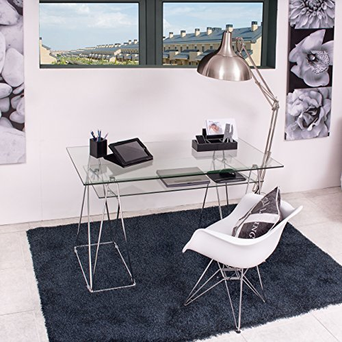 Homely - Mesa de Escritorio Peaks sobre de Cristal Templado y Estructura de Metal 130x65 cm ⭐
