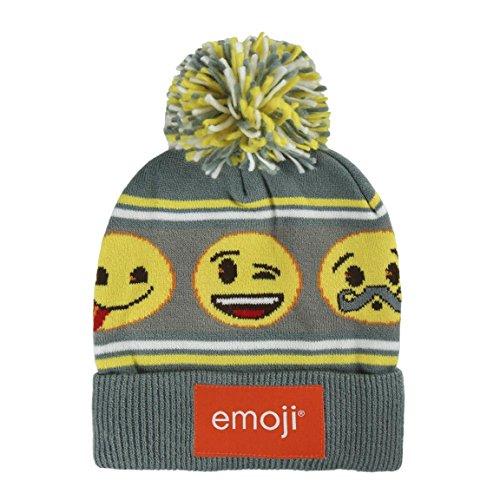 takestop® muts met pompon emoji FACCINE Emoticon grijze muts warme wintermuts wol eenheidsmaat meisjes meisjes