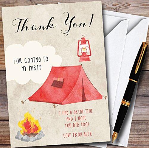 Watercolor Tent Camping Gepersonaliseerde Feest Dank U Kaarten 20 Invitations