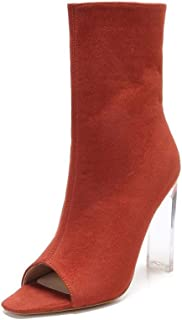 332-1 Womens Peep Toe Ankle Bootie with Lucite Plank Heel