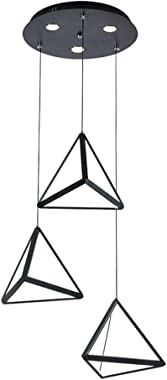 Modern Minimalist Triangle Personality Creative Three-Head Chandelier, Dining Room Bedroom Wrought Iron LED Study Living Room