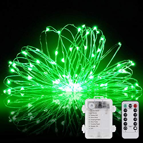 Led String Lights 100 LEDs 2 Pack Decorative Fairy Battery Powered String Lights, Copper Wire Light for Bedroom,Wedding(33ft/10m Green)