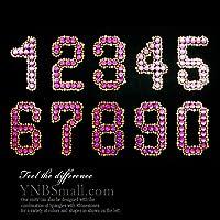 【スパングル】 スパンコールモチーフ (数字 ナンバーのモチーフ) ピンク系 アイロン接着可 Sサイズ 【8】
