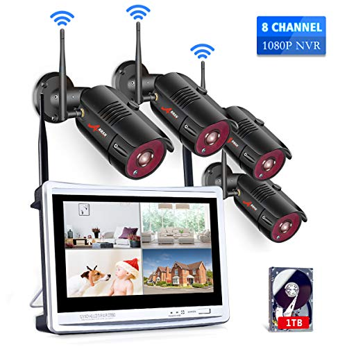 [All-in-One] 1080P Home Security Camera System Wireless with 12 Inch Monitor WiFi Surveillance NVR Kits,8 Channel WiFi Video Security System with 1TB HDD with 4Pcs 2.0MP IP Cameras,Free APP by ANRAN DVR Kits Surveillance